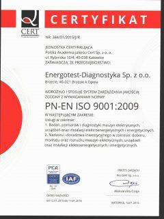 Certyfikat PN-EN ISO 9001:2009 Polish