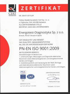 Certyfikat PN-EN ISO 9001:2009 German
