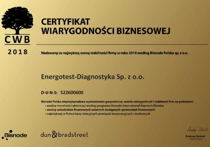 Certyfikat Wiarygodności Biznesowej Energotest-Diagnostyka 2018
