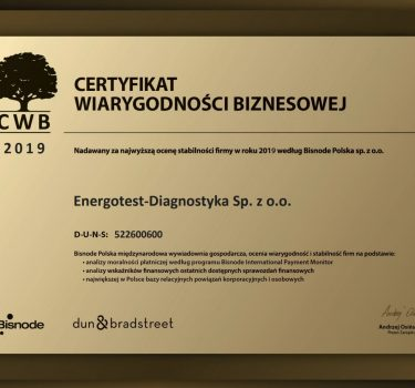 Certyfikat Wiarygodności Biznesowej Energotest-Diagnostyka 2019