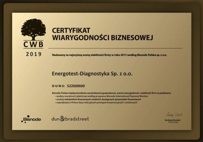 certyfikat wiarygodności biznesowej 2019