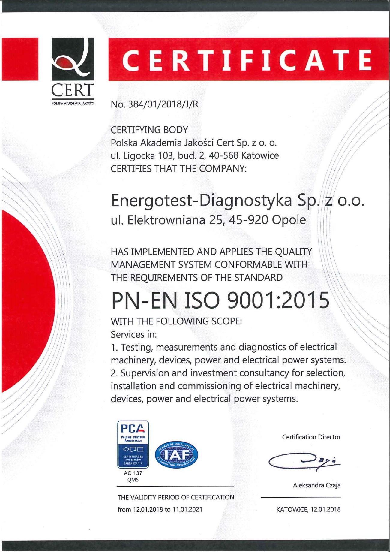 Certyfikat PN-EN ISO 9001:2015 English