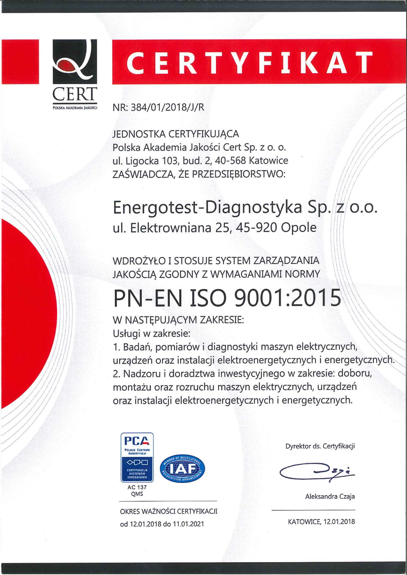 Certyfikat PN-EN ISO 9001:2015 Polish