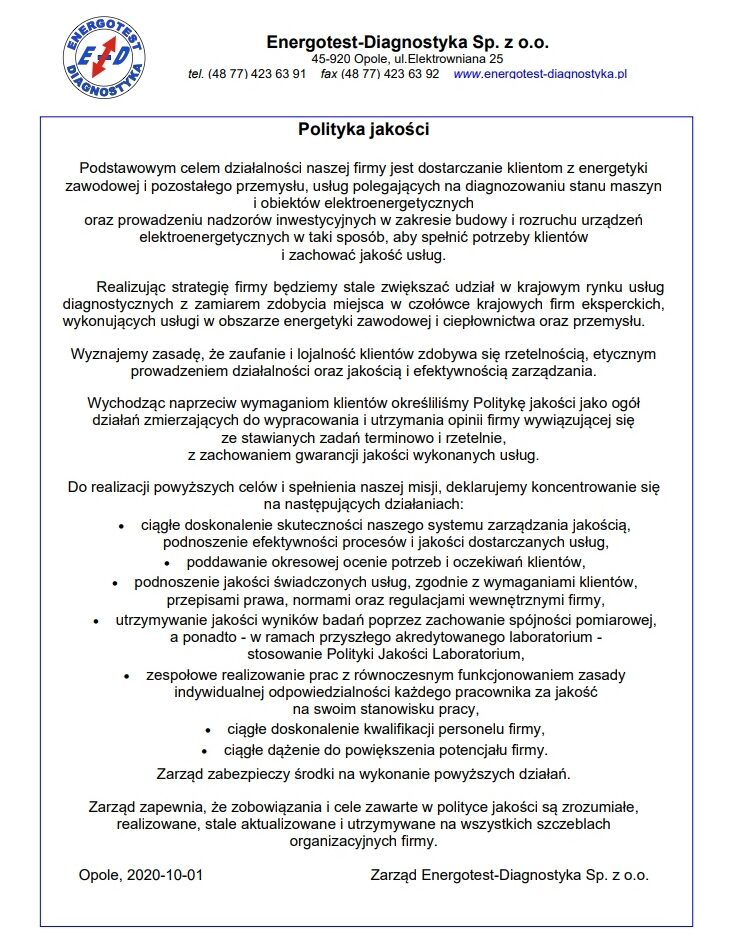 Polityka Jakości Energotest-Diagnostyka Sp. z o.o.
