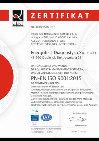 Energotest-Diagnostyka Certyfikat PN-EN ISO 9001:2015 DE 2021-2024