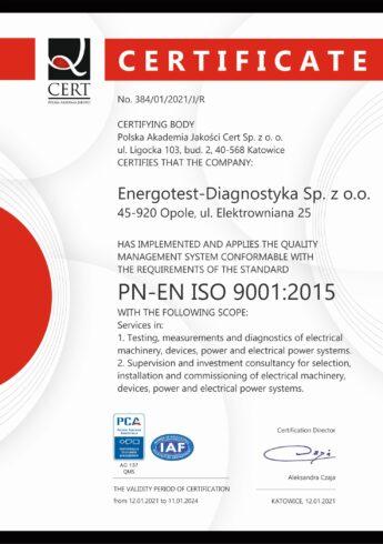 Energotest-Diagnostyka Certyfikat PN-EN ISO 9001:2015 EN 2021-2024